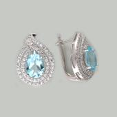 Серьги Капля с овальным топазом и фианитами, серебро
