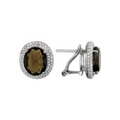 Серьги с овальным раухтопазом и фианитами, серебро