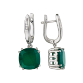 Серьги с фианитами и зеленым агатом на подвесе, серебро