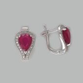 Серьги Капля с рубином и фианитами, серебро