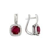 Серьги с рубином и фианитами, серебро
