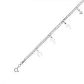 Браслет амулет с подвесками: подкова, ключик, крестик, якорь из серебра