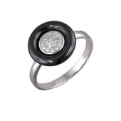Кольцо Круг с керамикой и фианитами, серебро