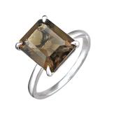 Кольцо с прямоугольным раухтопазом, серебро