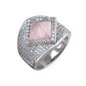 Кольцо Пирамида с розовым кварцем, синтетическим рубином и фианитами, серебро