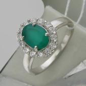 Кольцо с зеленым агатом и фианитами в стиле леди Дианы, серебро