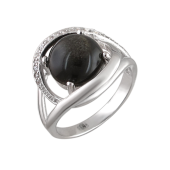 Кольцо с обсидианом и фианитами, серебро