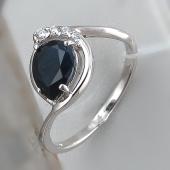 Кольцо Капля с сапфиром и фианитами, серебро