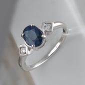 Кольцо с овальным сапфиром и фианитами, серебро