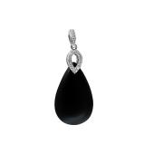 Кулон Капля с черным ониксом и фианитами, серебро