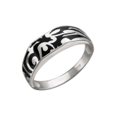 Кольцо мужское с эмалью, серебро