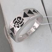 Кольцо мужское с треугольниками из черной эмали, серебро