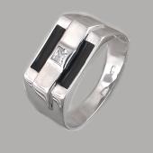 Кольцо мужское с квадратным фианитом и черной эмалью, серебро