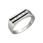 Кольцо мужское с фианитами и черной эмалью, серебро