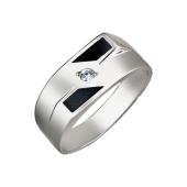 Кольцо мужское с фианитами и чёрной эмалью, серебро
