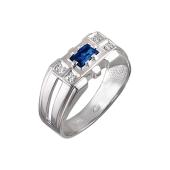 Кольцо мужское с синим и прозрачными фианитами, серебро