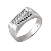 Кольцо мужское с черными и прозрачными фианитами, серебро