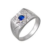 Кольцо мужское с синтетической синей шпинелью и фианитами, серебро