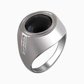 Кольцо-перстень мужское с ониксом кабошон и фианитами, серебро