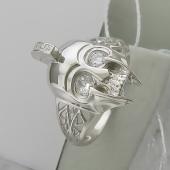 Кольцо мужское Шлем с фианитами, серебро