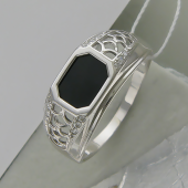 Кольцо мужское с ониксом и фианитами, серебро