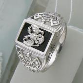 Кольцо мужское Двуглавый Орел герб России с ониксом и фианитами, серебро
