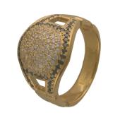 Кольцо с черными и прозрачными бриллиантами, желтое золото 750 проба