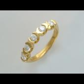 Кольцо с пятью бриллиантами, желтое золото 750 проба