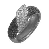 Кольцо Черное и Белое, с прозрачными и чёрными бриллиантами, белое золото