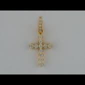 Крест без распятия, с бриллиантами, желтое золото 750 проба