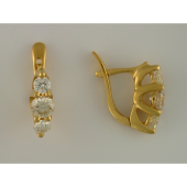 Серьги с тремя бриллиантами, желтое золото 750 пробы