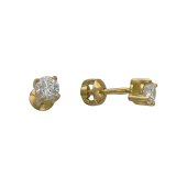 Серьги-пусеты с бриллиантами на четырех держателях, желтое золото 750 проба