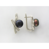Серьги с дорожкой фианитов и черным жемчугом, серебро