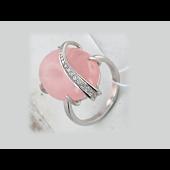 Кольцо с розовым кварцем и фианитом, серебро