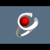 Кольцо с кораллом, серебро