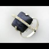 Кольцо с агатом ботсвана (перламутром, бирюзой) и фианитами, серебро