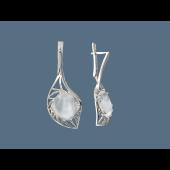 Серьги Листок с горным хрусталем или кварцем, серебро