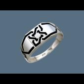 Кольцо мужское с эмалевым узором, серебро