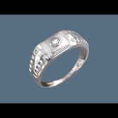 Кольцо мужское часовое с фианитом из серебра