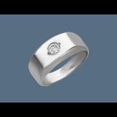 Кольцо мужское с одним фианитом, серебро