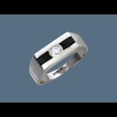 Кольцо с фианитом и эмалью из серебра