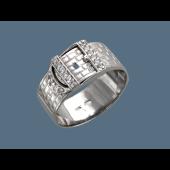 Кольцо Ремень с фианитами, серебро