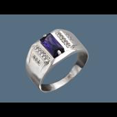 Кольцо с фиолетовым и прозрачными фианитами из серебра