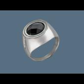 Кольцо с ониксом и фианитами из серебра