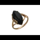 Кольцо с ониксом маркиз, красное золото