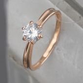 Кольцо с одним фианитом, серебро с позолотой