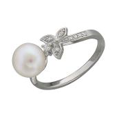 Кольцо Бант с жемчугом и фианитами, серебро