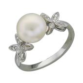 Кольцо Бабочки с жемчугом и фианитами, серебро