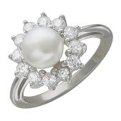 Кольцо Принцесса с жемчугом и фианитами, серебро