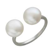Кольцо Диор с двумя жемчужинами разомкнутое, серебро